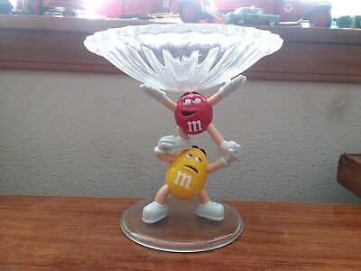 M&m's Clear Plastic Pedestal Candy Dish With M&m Characters