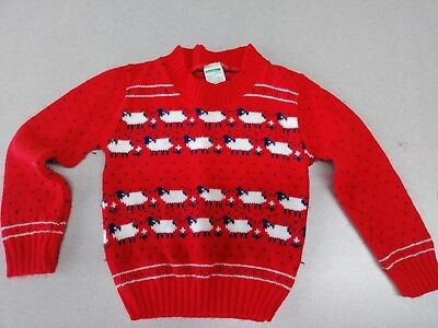 Vintage Sz 3 Toddler Girl Toddletime Jcpenny Red Sheep Sweater Knit Cute!