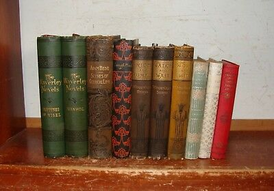 LOT OF 10 ANTIQUE BOOKS 1800's DECORATIVE LIBRARY SET VICTORIAN FINE BINDING ++
