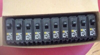 Lot of 10 Square D Homeline HOM115 15 Amp Single Pole Circuit Breakers