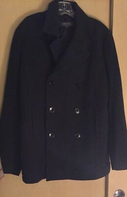KENNETH COLE Insulated Pea Coat Gray Unisex Mens S Women M Wool Blend NEW
