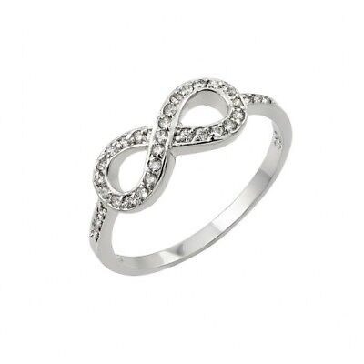 Womens 925 Sterling Silver Rhodium Plated Clear CZ Infinity Ring