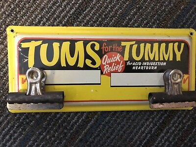 Vintage Tums  Advertising Sign 1940's Pharmacy General Store
