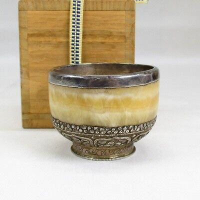 G397: Rare Chinese cup of stone covered with brass like silver with good work