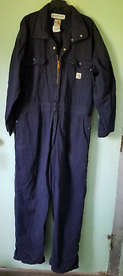 MENS Navy Blue XL CARHARTT Flame Resistant Long Sleeve COVERALL