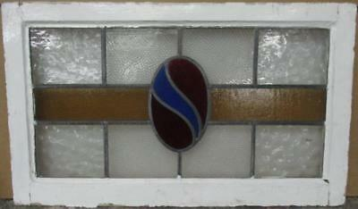 "MID SIZED OLD ENGLISH LEADED STAINED GLASS WINDOW Stunning Band 28.25"" x 17"""