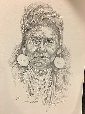 Chief Joseph Native American Vintage Lithograph of Drawing Art Signed By Artist