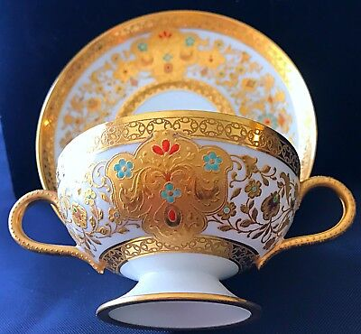 Exquisite Special Rare Haviland Limoges Bouillon & Saucer Floral Gold Overlay