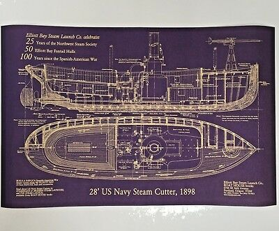 Blueprint 28' US Navy Steam Cutter, 1898 Ship, Elliott Bay Steam Launch Unframed