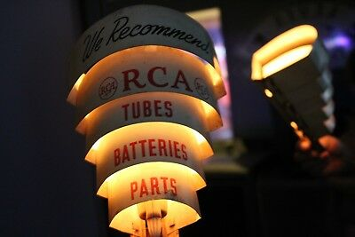 SCARCE 1940's RCA RADIO TV TUBES PARTS SERVICE LIGHTED METAL SIGN MID CENTURY