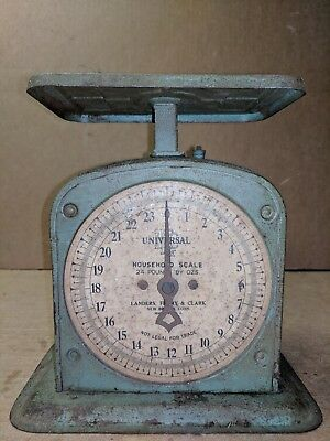 Vintage LFC Landers Frary Clark HOUSEHOLD FAMILY SCALE 24 Lbs Blue Green Unique