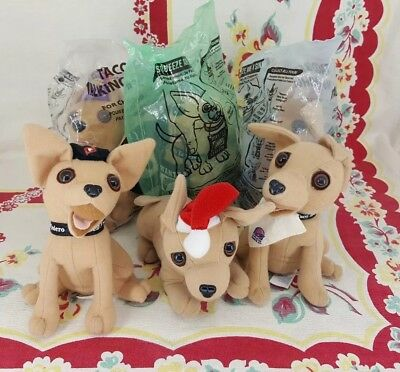 lot of 6 different Taco Bell talking CHIHUAHUA dog plush toys 3 new 5 work 1990s