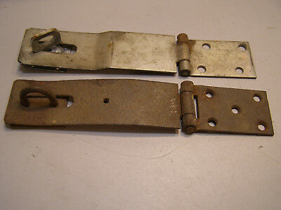 "2 Vintage Larger Steel Hinge Hasp Latch About 9"" One rusty One with turning loop"