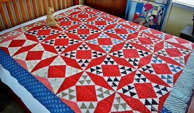 Antique 19th c Hand Stitched Improved Nine Patch Calico Quilt *