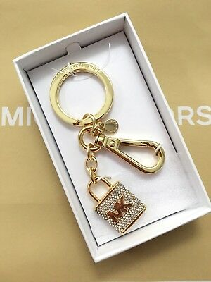NWT Michael Kors Key Chain Pave Lock Key Ring Charms Gold Clear Bag Jewelry $58