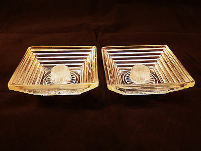 """Pair """"Manhattan"""" Depression Glass Candle Holders by Hocking Glass 1938-43"""