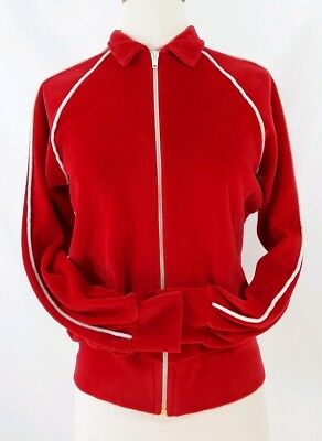 Vtg Knit Knax Velour Womens XS Small Full Zip Collared Track Jacket 70's Red