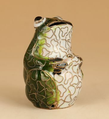 Lovely Chinese Old Enamel cloisonne Hand Paingint frog figure Statue HAND PIECE