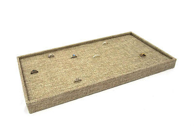 Burlap Covered  Ring/Cuffling Storage Tray With 72 Ring Burlap Insert