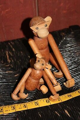vintage jointed monkey mom and child mid century modern dad baby mod wood