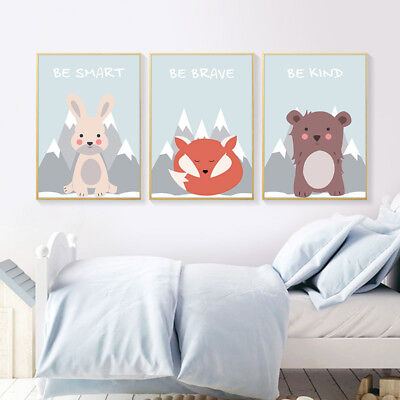 Woodland Animal Canvas Poster Nursery Wall Art Print Painting Baby Bedroom Decor