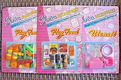 Set Of 3 GLORIA DOLLHOUSE FURNITURE Vegetables+Can Food+Utensil Sets FOR BARBIE