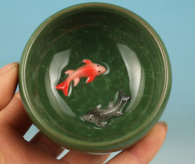 Chinese Ice Crack Porcelain Fish Statue Bowl Tea Glass/Cup art Kungfu Tea Cup