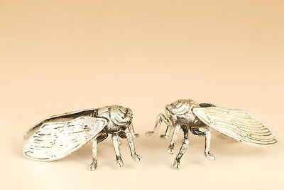 Pair Asian Old Tibet Silver hand Solid carving Cicada 2 statue figure Netsuke