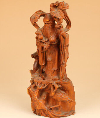 Big Rare Old boxwood hand carving God of longevity statue Feng shui Home deco