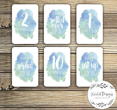 Baby Milestone Cards - Blue Watercolour