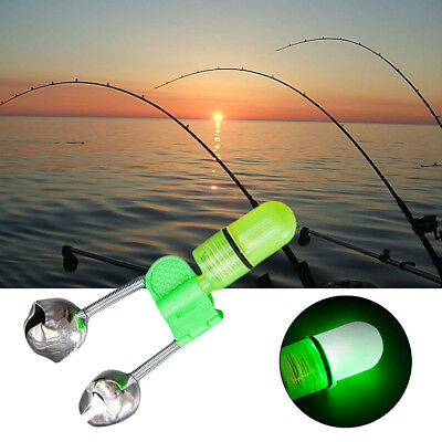 LED Night Fishing Tackle Tool Rod Tip Lure Bite Alarm Bells Alerter Rings Clips