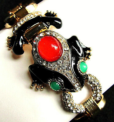 High End FROG Rhinestone Enamel DESIGNER Statement BRACELET Gold tone BLACK