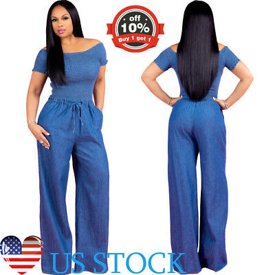 Womens Jumpsuit Short Sleeve Off Shoulder Bandeau Denim Jean Corset Slim Rompers