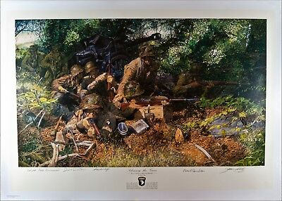 Band of Brothers Autographed WWII Art Print Signed by Dick Winters & 3 others