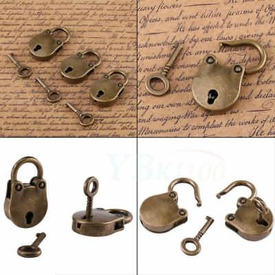 3pcs/set Old Vintage Antique Style Mini Archaize Padlock Key Lock and Key Crafts