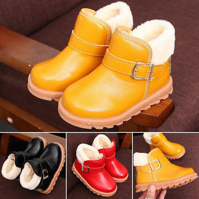 Children Kid Baby Boys Girls Winter Warm Martin Boots Flat Ankle Boots Shoes UK