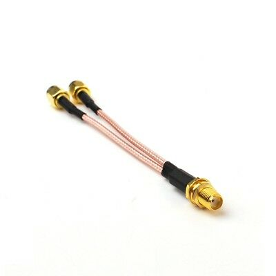 SMA Female to 2X SMA male RF coaxial cable Y type splitter pigtail RG316 15cm