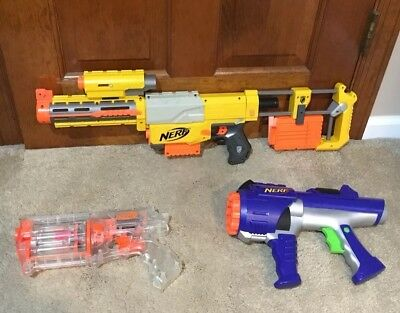 Nerf Lot of 3 Nerf N Strike CS-6 Plus 2 Other Guns All Work Great W/Attachments
