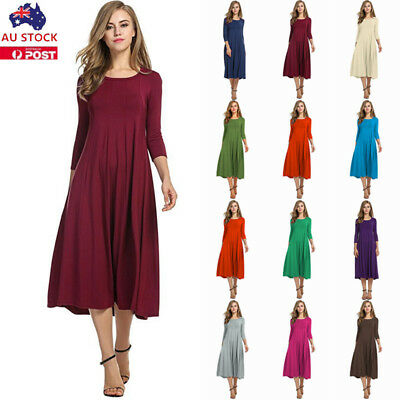 Women Plain Ruffle Maxi Dress Casual Long Sleeve Loose Party Evening Tunic Dress