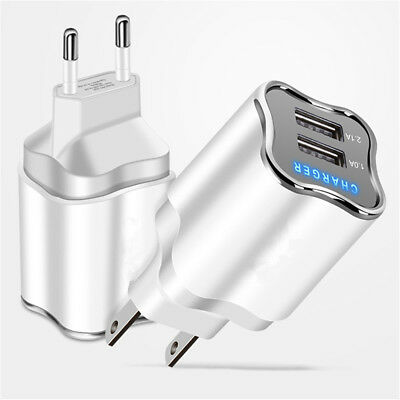5V 2A EU/US Dual USB 2 Port Fast Charger Wall Power LED Adapter For Cell Phone