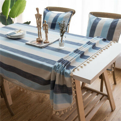 Striped Table Cloth Cotton Linen Lace Tassel Tablecloth Party Decor Table Cover