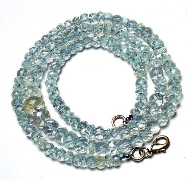 """NATURAL SKY BLUE AQUAMARINE 5 to 10MM FACETED RONDELLE BEADS NECKLACE 135CTS 21"""""""
