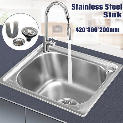 Stainless Steel/ Ceramic Kitchen Bar Inset Sink Laundry Single Square/Round Bowl