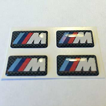 4 x BMW M-Sport Carbon Effect Alloy Domed Stickers M Sport Decals 3D 18x10mm