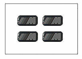 4 x BMW M-Sport Alloy Domed Stickers M Sport Decals Black And White 3D 18x10mm