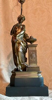 Antique Patinated Cast Bronze Grecian Maiden and Pedestal Table Lamp 42.5""
