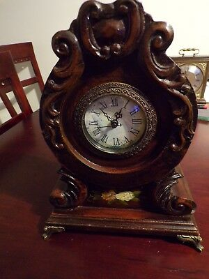 OLD ANTIQUE WOODEN CLOCK rare VINTAGE beautiful battery