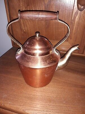 vintage metal kettle copper and brass tagus portugal 9""