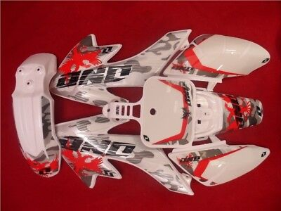 Pit Bike Snow Camo Graphics Kit Fitted To White CRF50 Plastics. Type 2