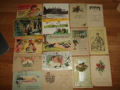 LOT OF 16 VINTAGE ANTIQUE used POST CARDS all with cancelled stamps Christmas+